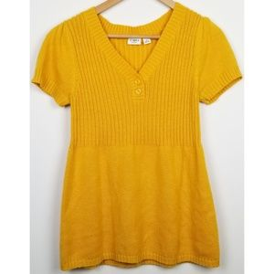 3/$25 Cato medium yellow short sleeve sweater